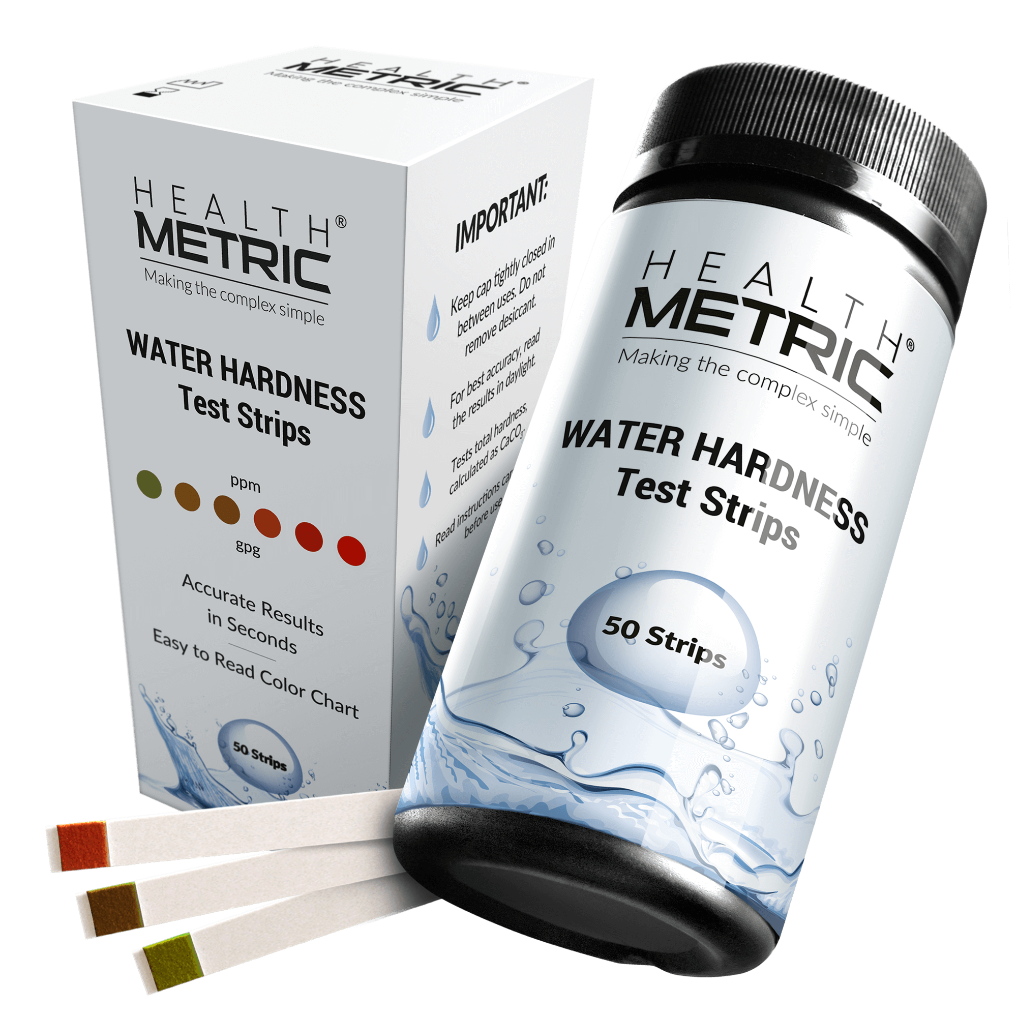 Water Hardness Test Strips - 50 strips at 0-425 ppm