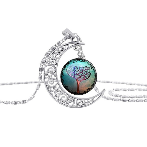 Silver Tree Of Life Moon Pendant Necklace
