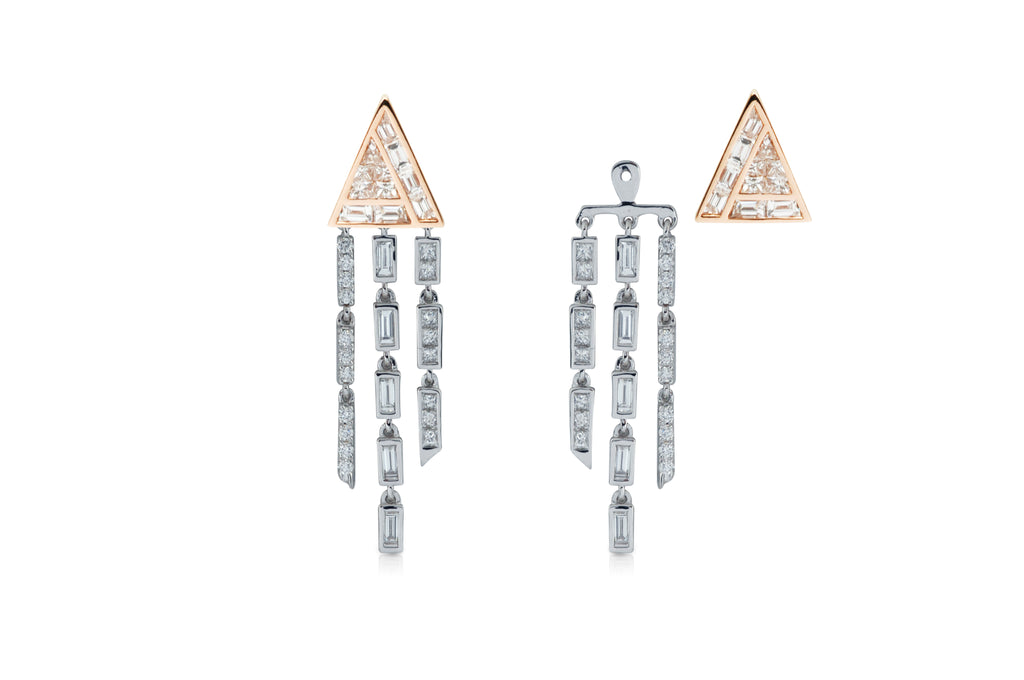 Kavant & Sharart GeoArt Diamond Fringe Earrings 18K Rose gold white gold