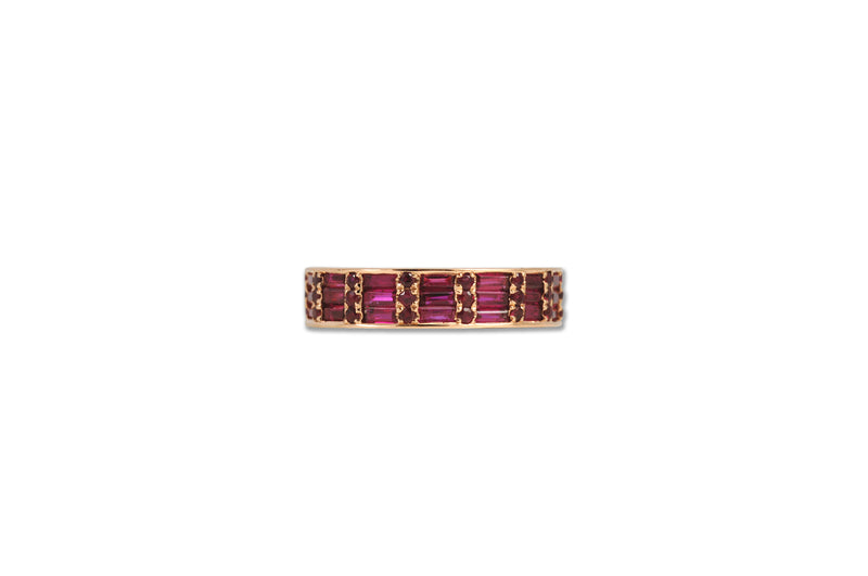 Classic Ruby Cigar 3 Ring set in Rose Gold