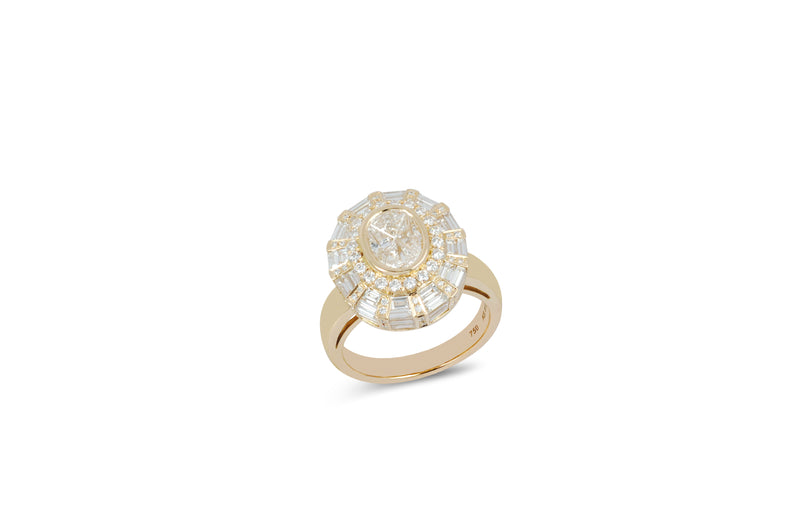 The Classic Twist  Oval Diamond Ring set in Yellow Gold