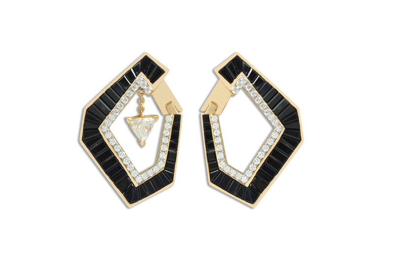 Origami Link no.5 One-of-a-Kind Sapphire & Diamond Earrings (Grande)