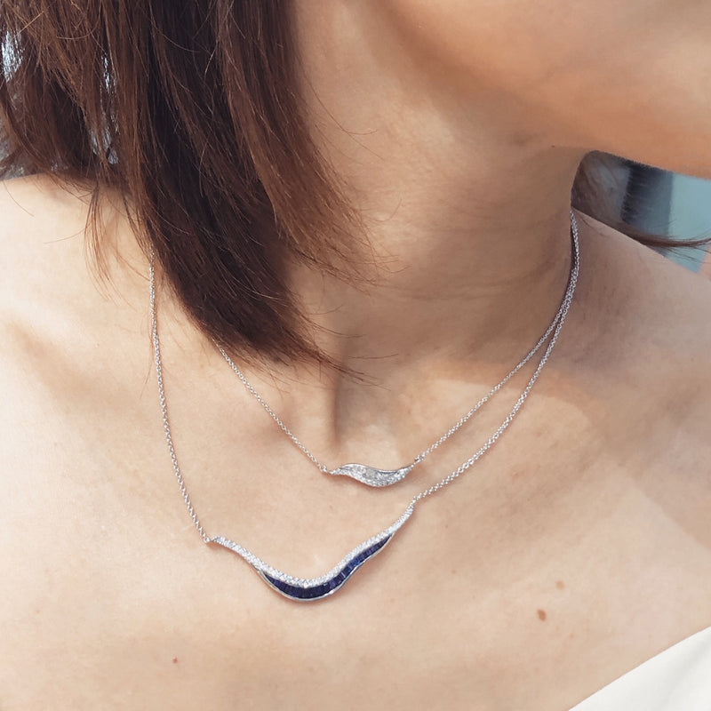 Talay Wave 19 Sapphire & Diamond Necklace