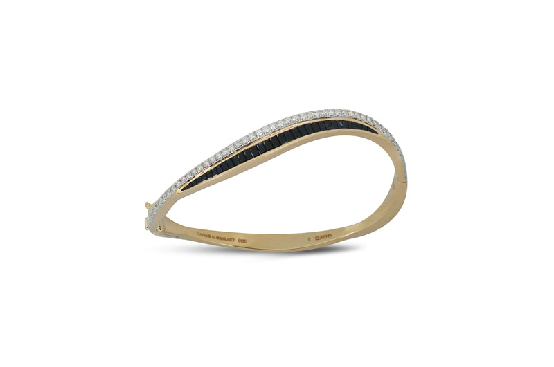 Talay Wave Twist 19 Black Sapphire Bangle