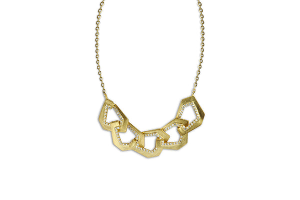 Origami Brushed Link no.5 Diamond Necklace