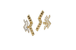 Origami Triple Ziggy Diamond Ear Jacket Earrings
