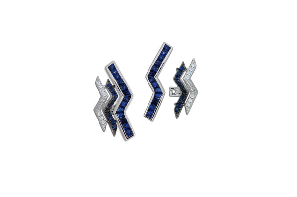 Origami Triple Ziggy Blue Sapphire Ear Jacket Earrings