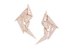 Origami Swan Diamond Earrings in Rose Gold