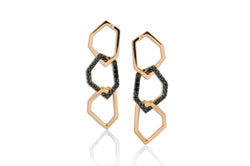 Origami Skinny Link no.5  Black Diamond Earrings