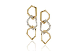 Origami Skinny Link no.5  Diamond Earrings