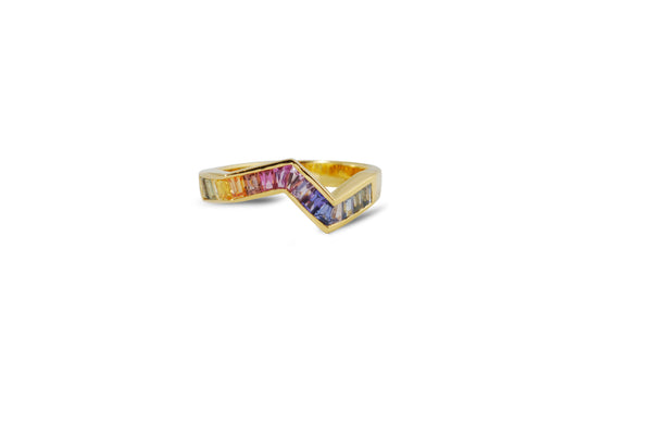 Origami Ziggy Rainbow Sapphire Ring in Yellow Gold
