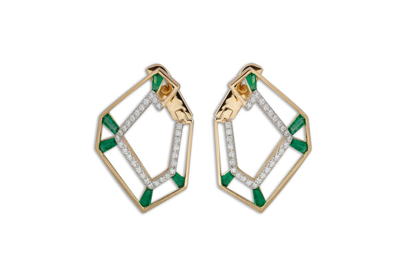 Origami Link no.5 Skeleton Emerald & Diamond Earrings Grande