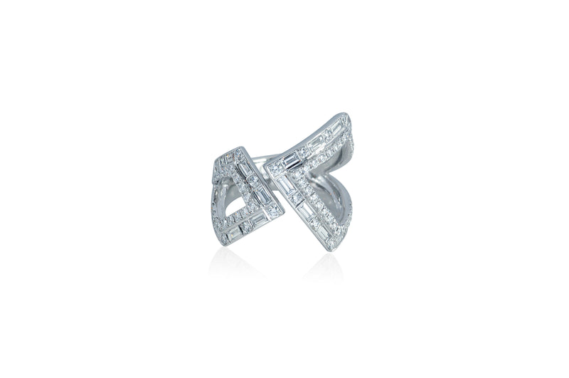 Origami Asymmetry Silhouette Diamond Ring