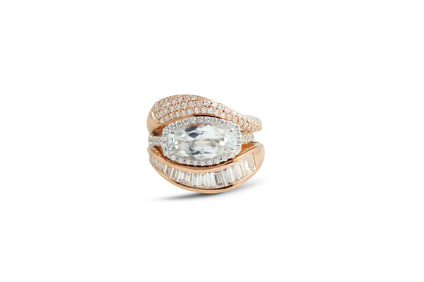 Talay Flow Wave Engagement Ring stack of 3