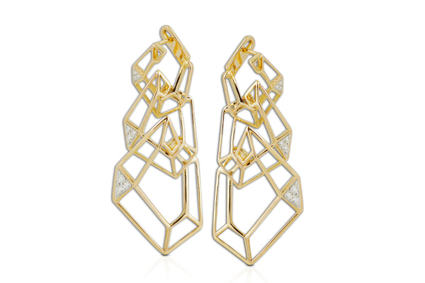 Origami Link no.5 Diamond Triple Skeleton Earrings