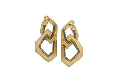 Origami Brushed Link no.5 Champagne Diamond Hanging Earrings