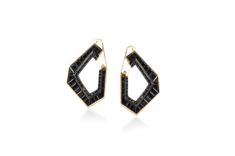 Origami Link no.5 Black Sapphire & Diamond Earrings (Medium)
