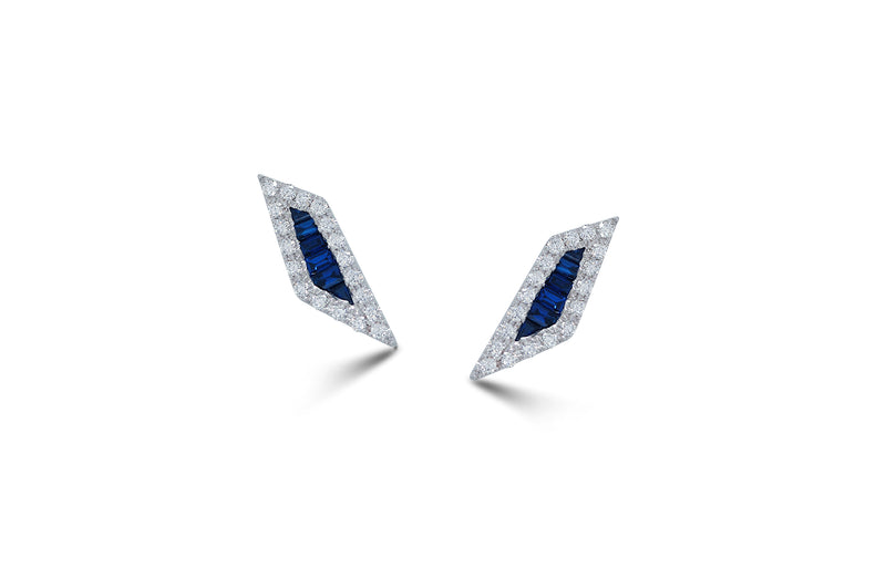 Origami Palm Leaf Sapphire Diamond Stud Earrings