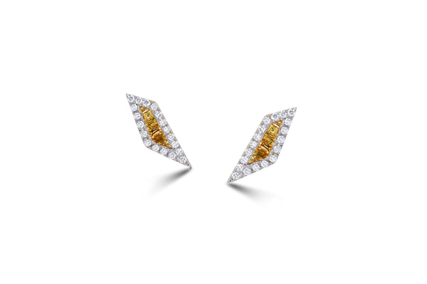 Origami Palm Leaf Yellow Sapphire Diamond Stud Earrings