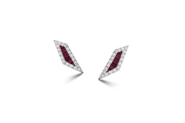 Origami Palm Leaf Ruby Diamond Stud Earrings