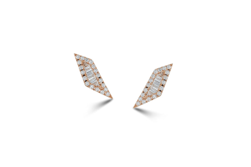 Origami Palm Leaf Diamond Stud Earrings