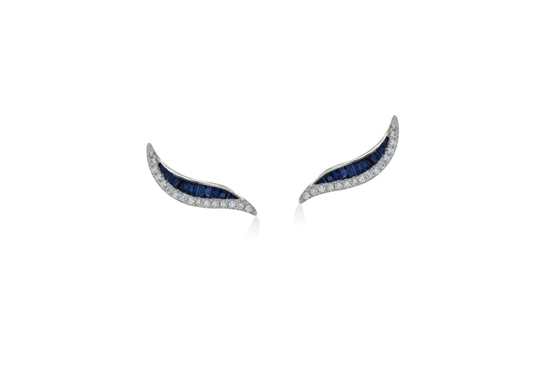 Talay Wave 19 Sapphire Stud Earrings
