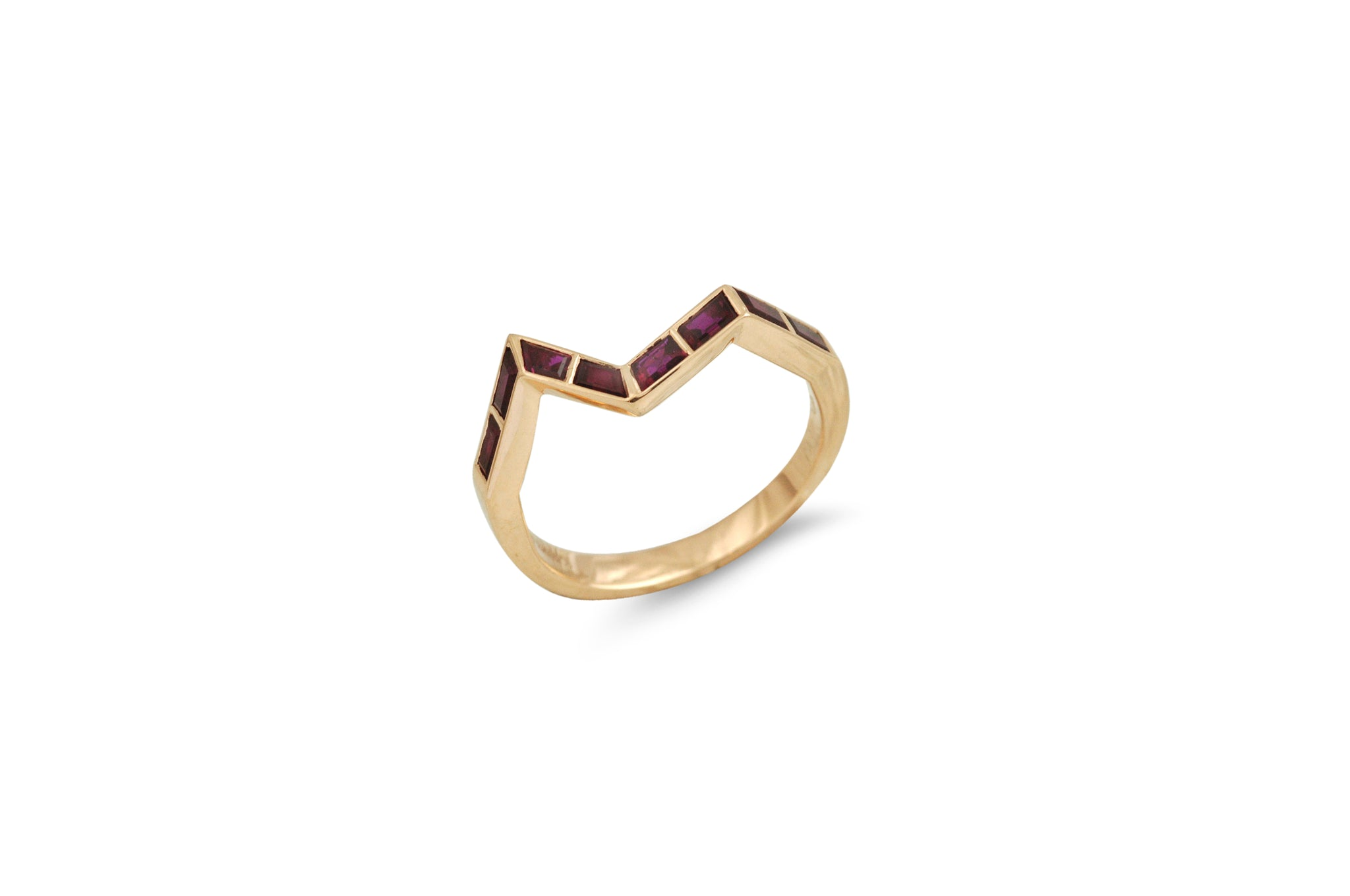 Origami Ziggy Step Ring in Ruby