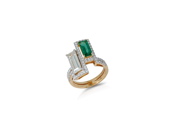 GeoArt DUO RR Emerald Diamond Ring