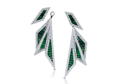 Origami Palm Leaf Tsavorite Garnet, Diamond Earrings