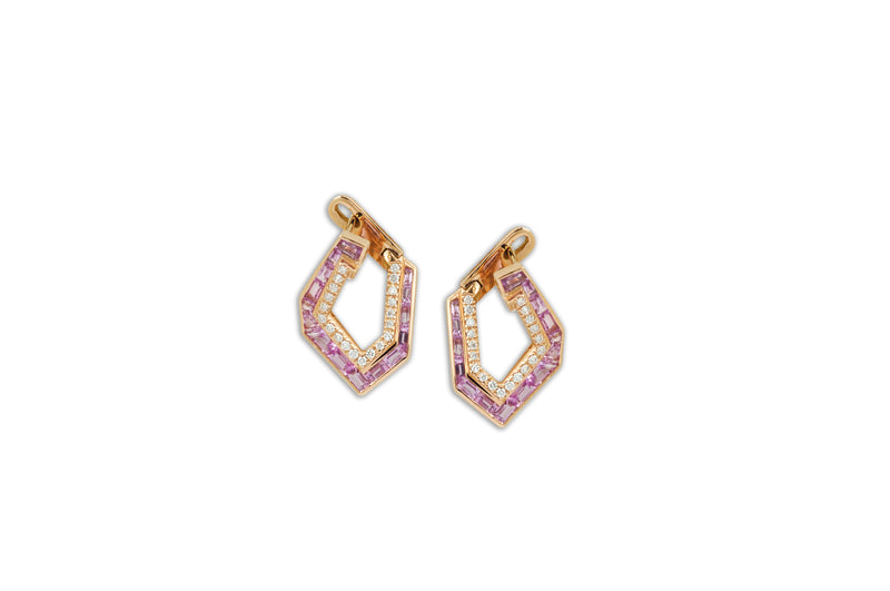 Origami Link no.5 Pink Sapphire & Diamond Earrings (Petite)