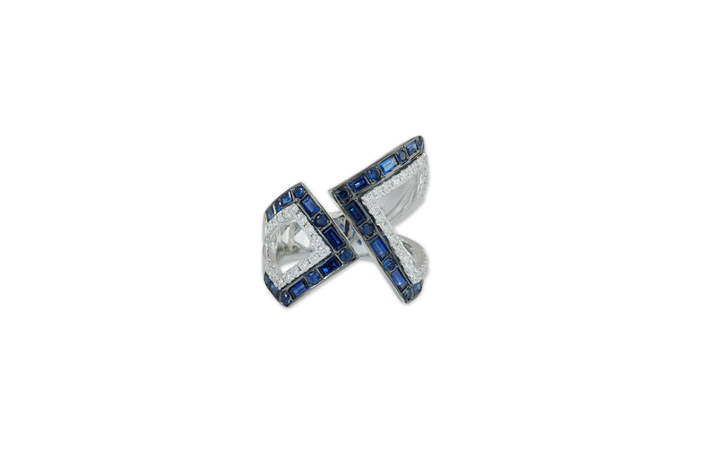 Origami Asymmetry Silhouette Sapphire and Diamond Ring