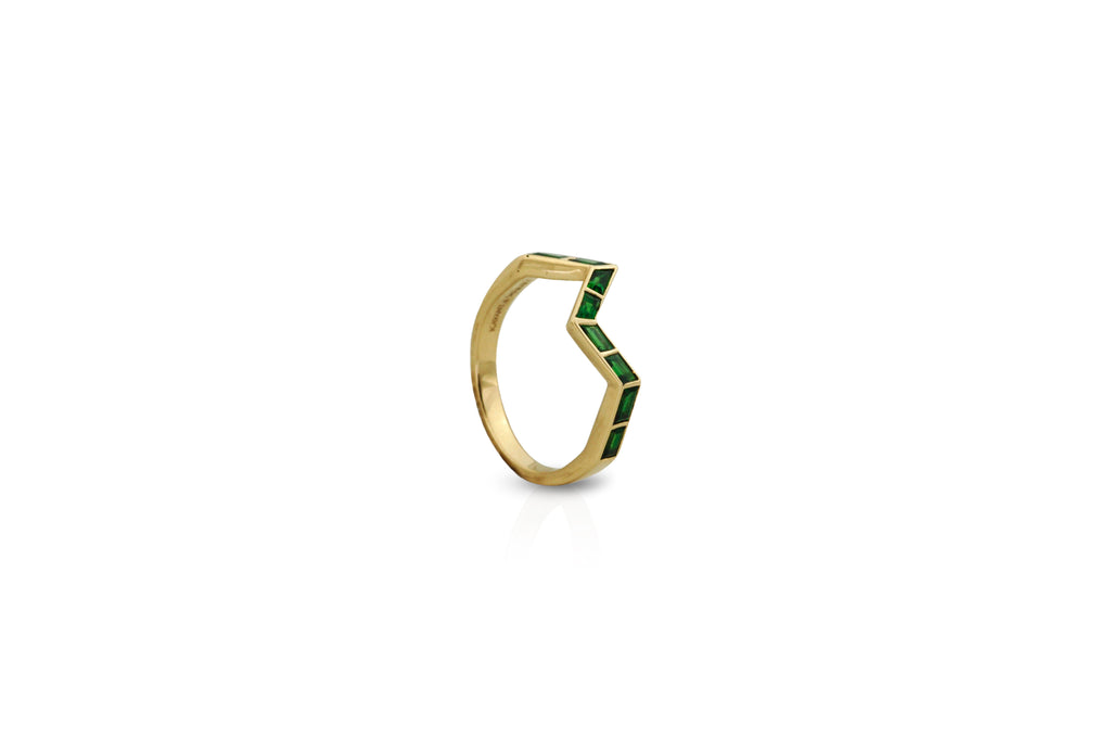 Origami Ziggy Step Tsavorite Ring