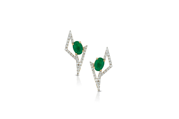 GEOART TT MINI Emerald, Diamond Earrings