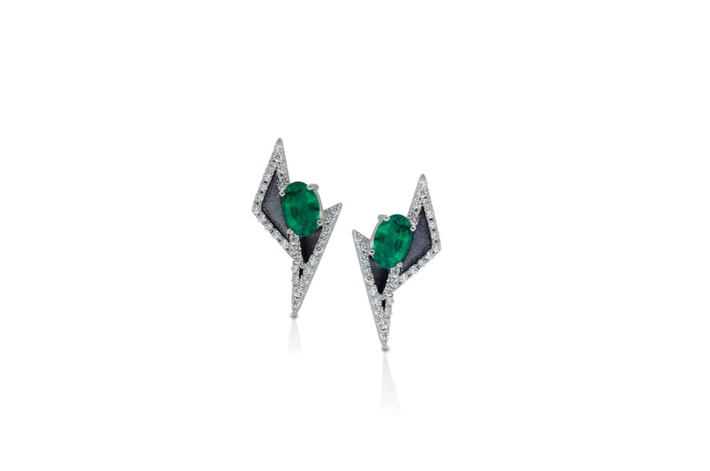 GEOART TT MINI EMERALD DIAMOND STUDS