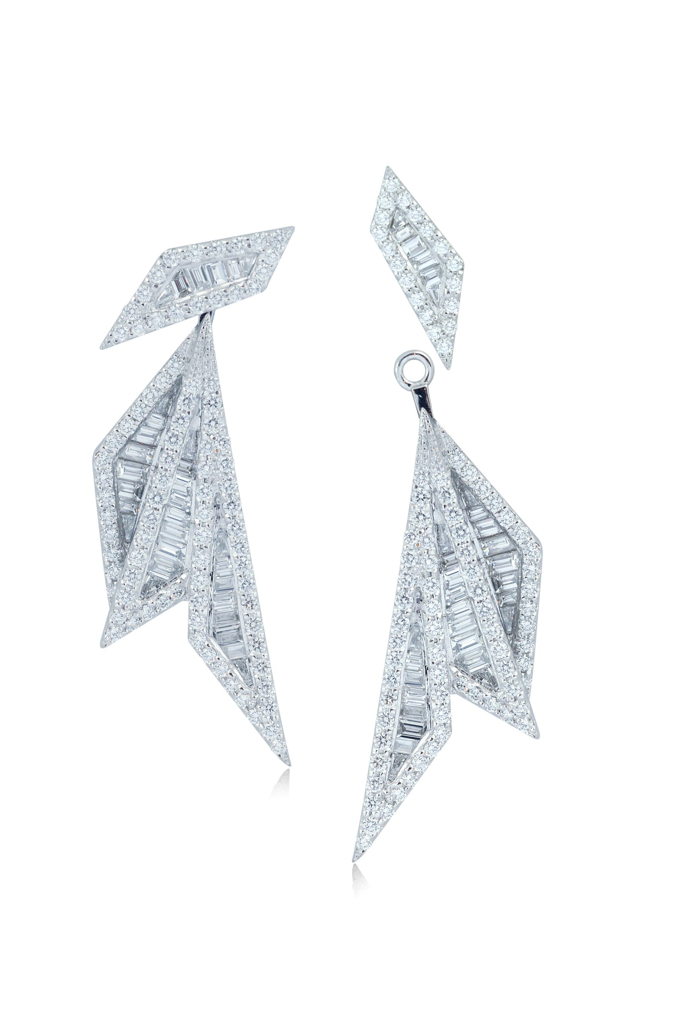 Origami Palm Leaf Diamond Earrings