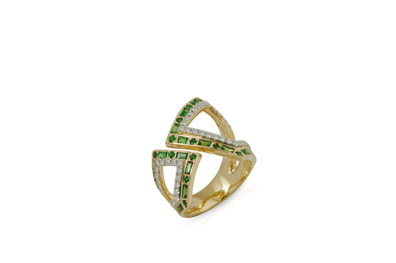 Origami Asymmetry Silhouette Tsavorite and Diamond Ring