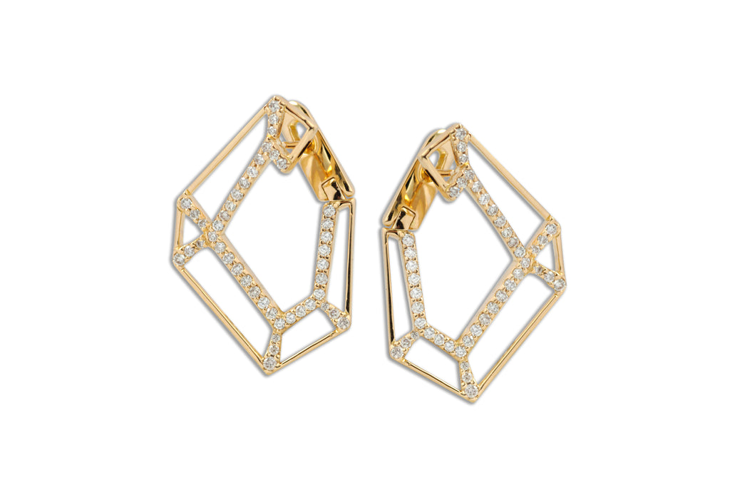Origami Link no.5 Skeleton Diamond Earrings