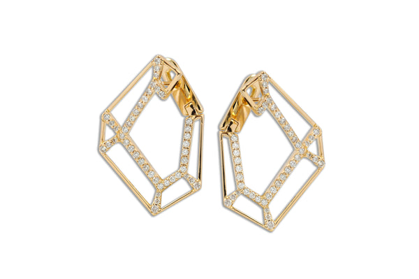 Origami Link no.5 Skeleton Diamond Earrings Grande