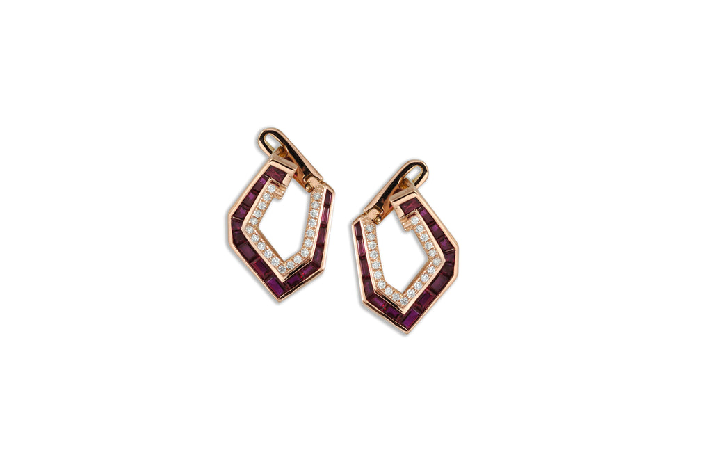 Origami Asymmetry Ruby & Diamond Earrings (Small)