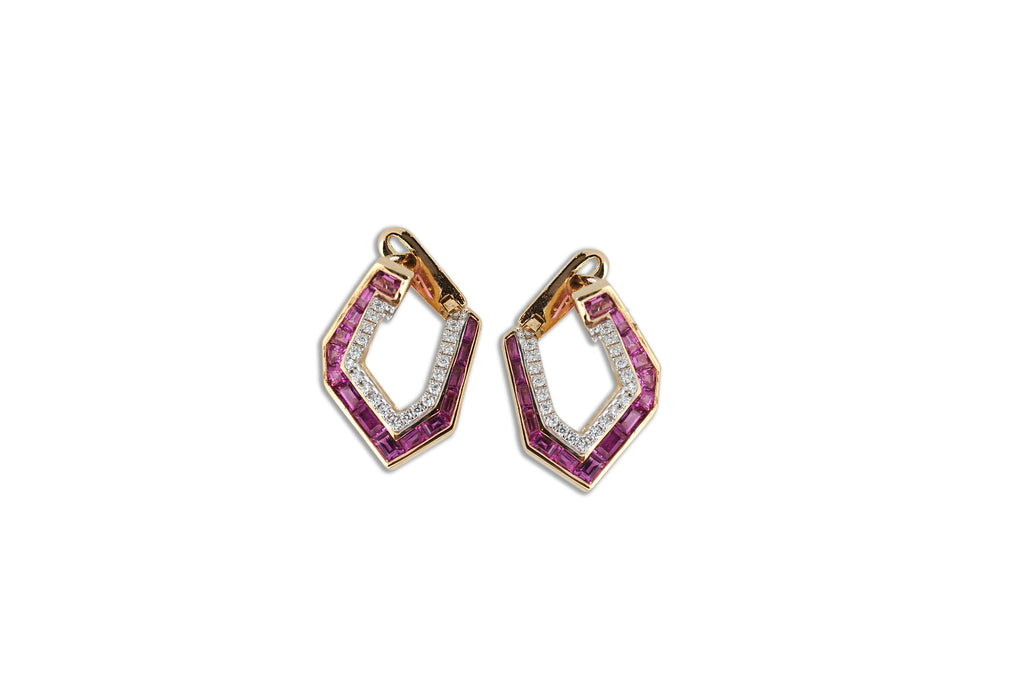 Origami Asymmetry Pink Sapphire & Diamond Earrings (Small)