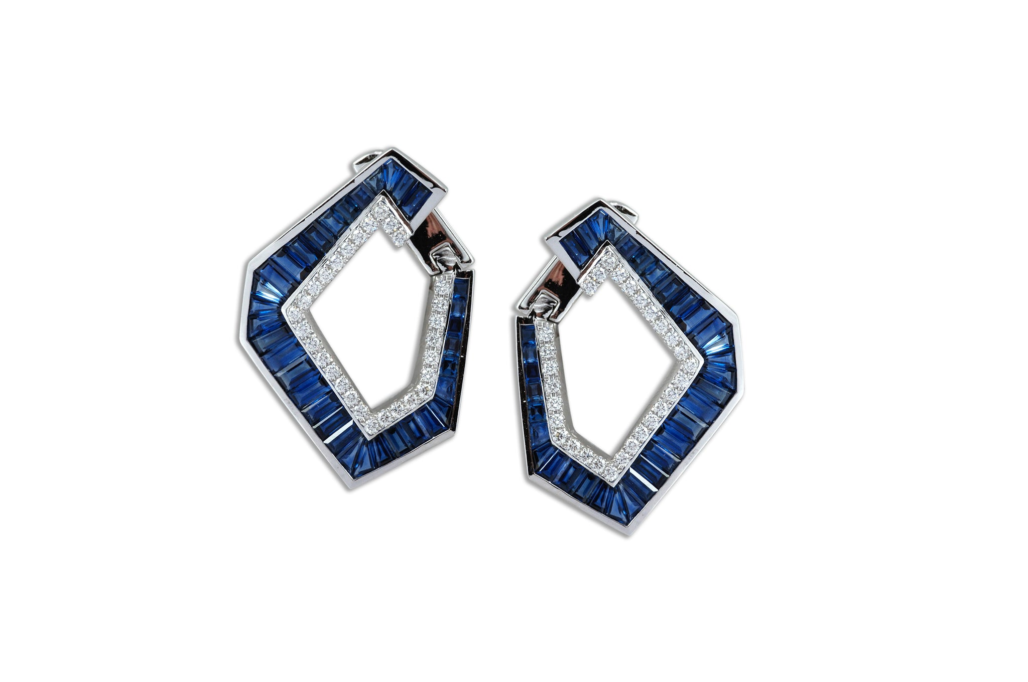 Origami Link no.5 Blue Sapphire & Diamond Earrings (Grande)