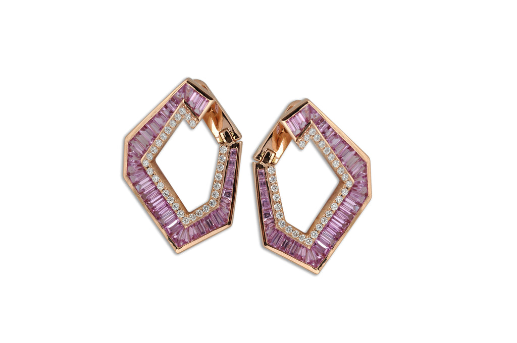 Origami Link no.5 Pink Sapphire & Diamond Earrings (Grande)