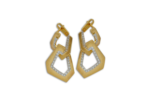 Origami Brushed Link no.5 Diamond Hanging Earrings