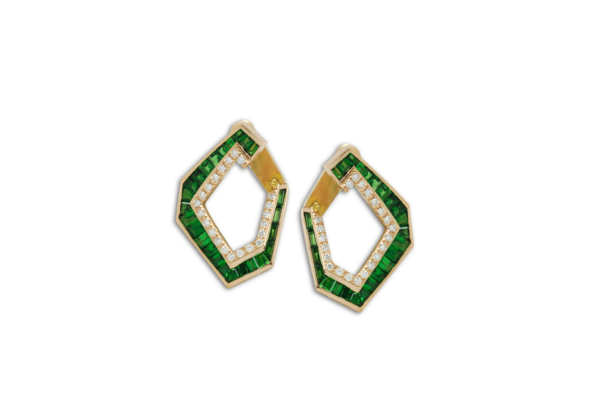 Origami Link no.5 Tsavorite Garnet & Diamond Earrings (Medium)
