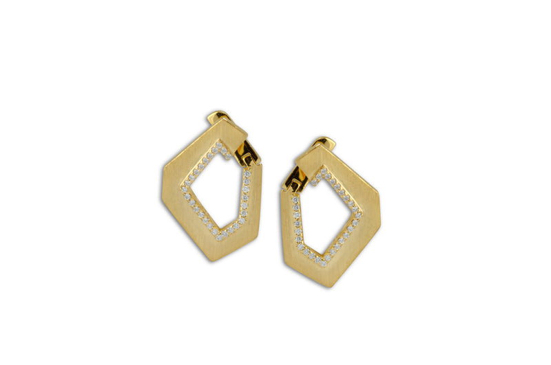 Origami Brushed Link no.5 Diamond Earrings (Medium)