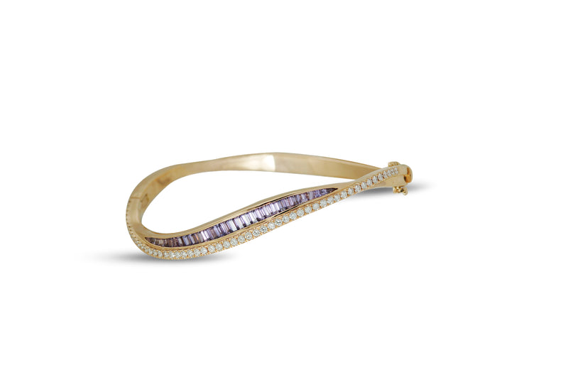 Talay Wave Twist 19 Purple Sapphire Bangle