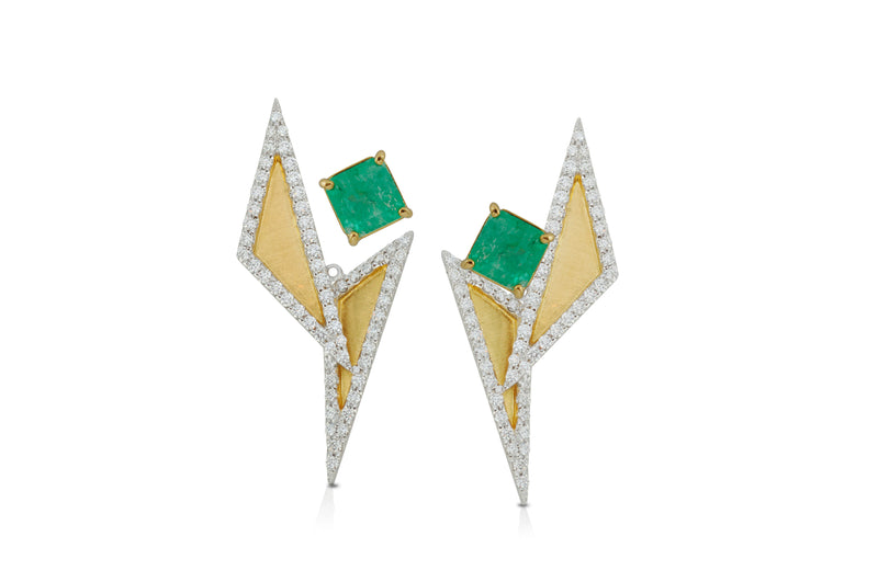 GeoArt TT Ear Jacket Earrings Emerald Diamond