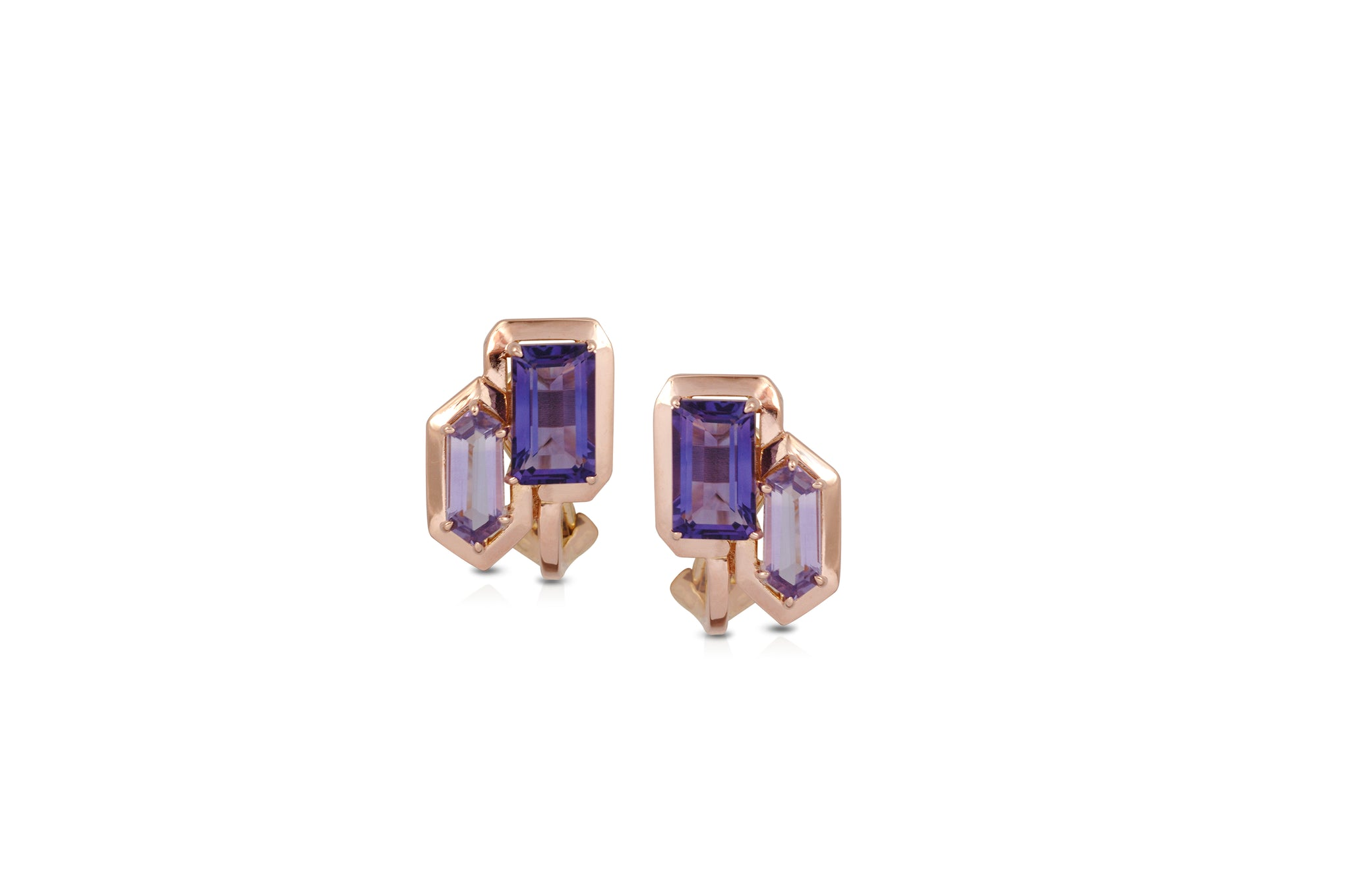 GeoArt DUO R-Bullet Amethyst Earrings
