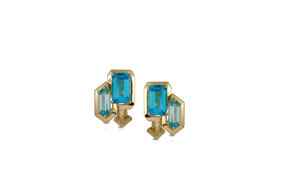 GeoArt DUO R-Bullet Blue Topaz Earrings