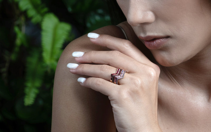 Origami Ziggy Step Pink Sapphire Ring